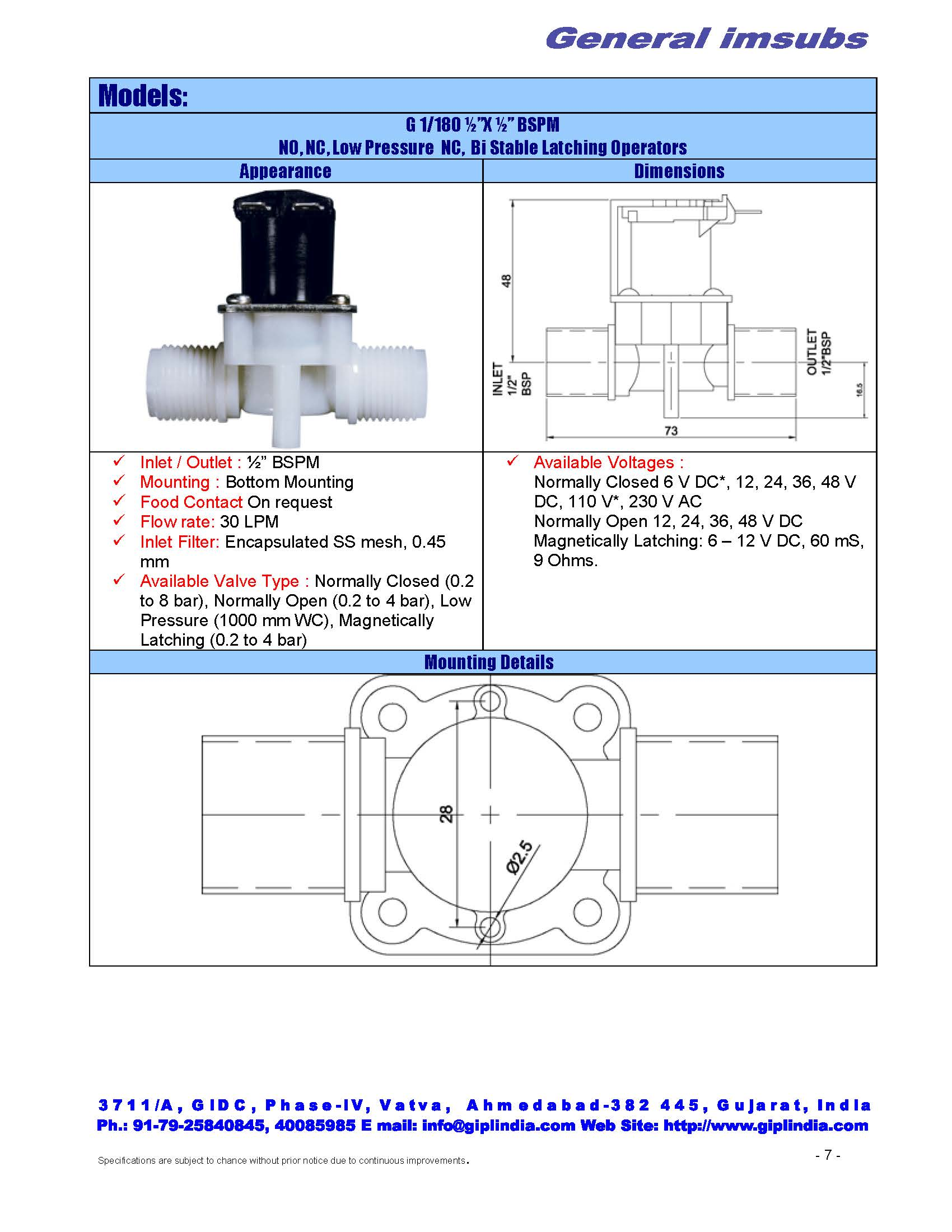 "1/2"" X 1/2"" BSP straight normally open valve"