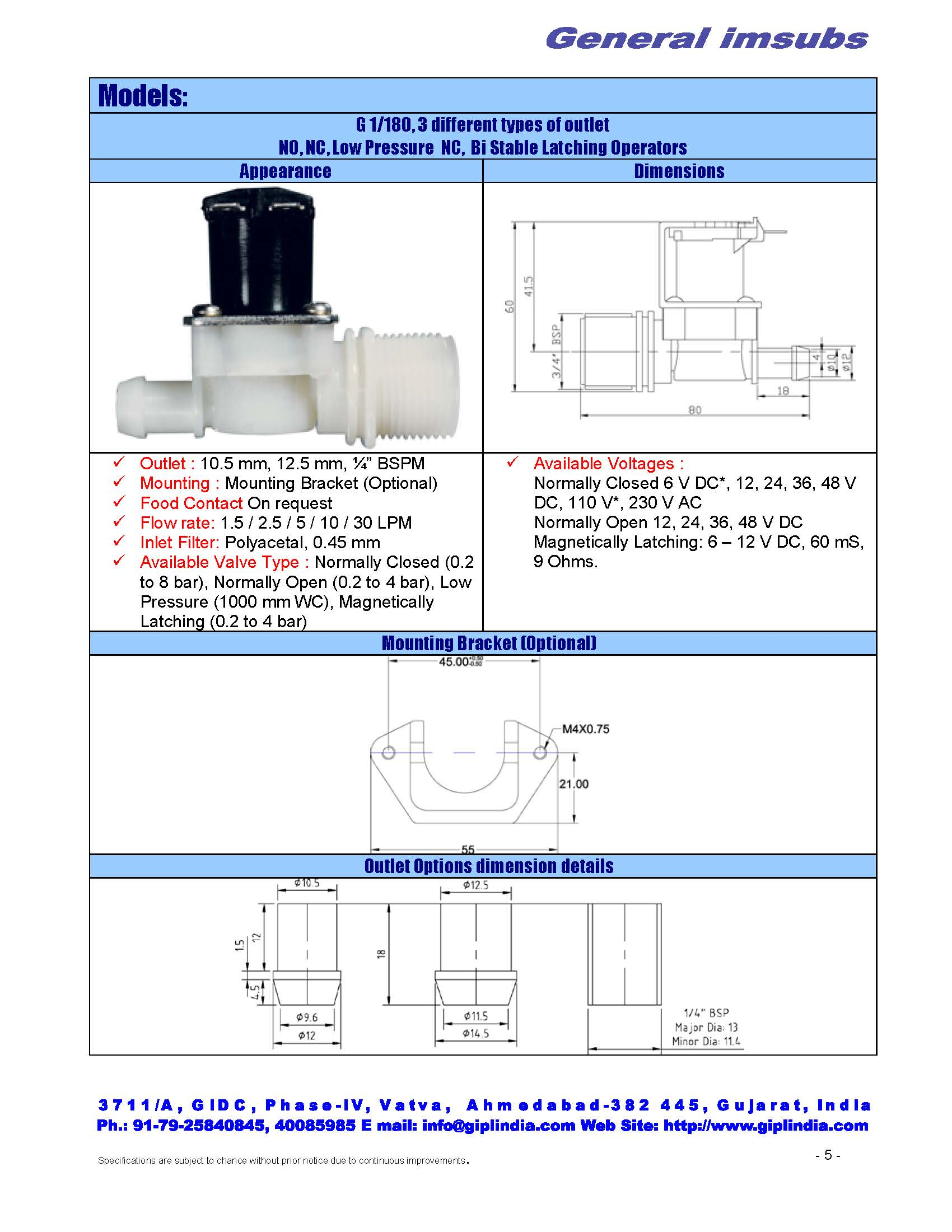 "bistable latching solenoid valve, 3/4"" inlet, 3 type of outlets"