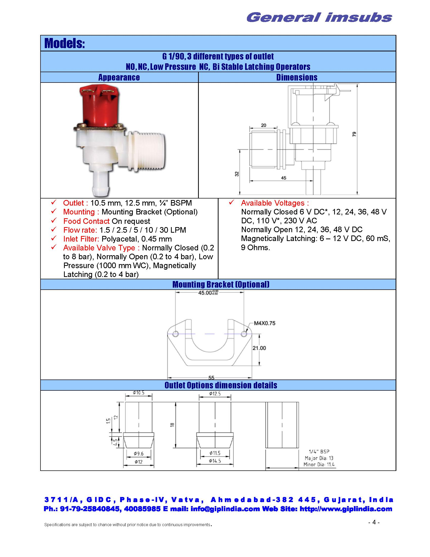 "normally open angled solenoid valve, 3/4"" BSP inlet"